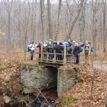 group of scouts standing on a small bridge in the woods