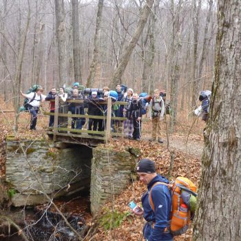 group of scouts standing on a small bridge in the woods, an older scout photobombing them