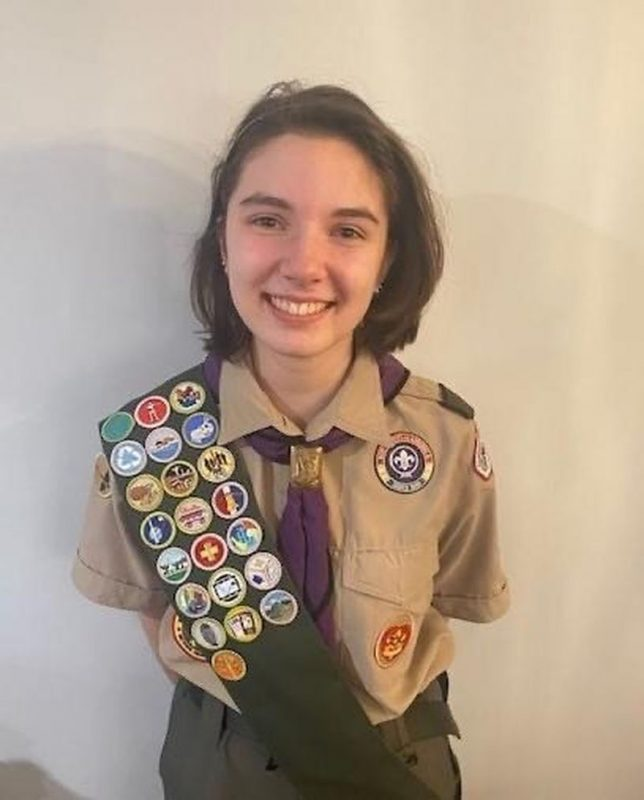 Ella Schulitz of Simsbury is the first Connecticut girl to attain Eagle Scout. (Boy Scouts of America, Connecticut River Council)