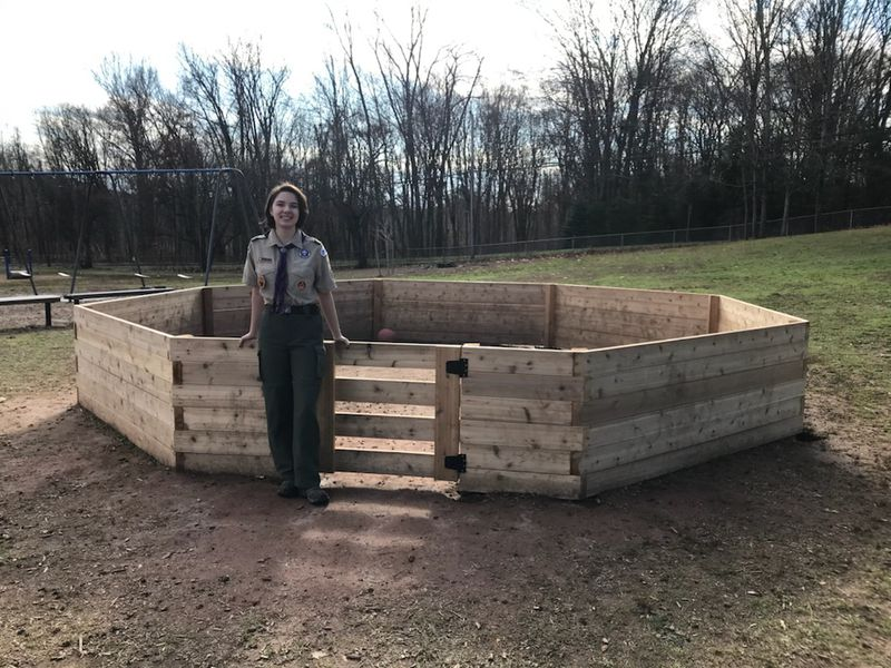 To attain her Eagle Scout rank, Ella Schulitz built this gaga pit outside Latimer Lane Elementary School in Simsbury. (Courtesy of Rick Schulitz)